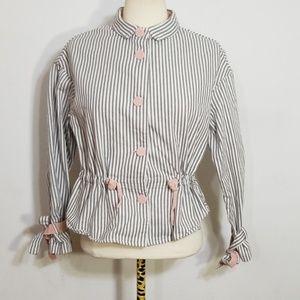 Kuose Grey Striped Crop Drawstring Jacket Small